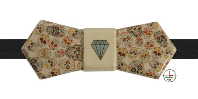 Bow Tie Mexican Skulls ivory