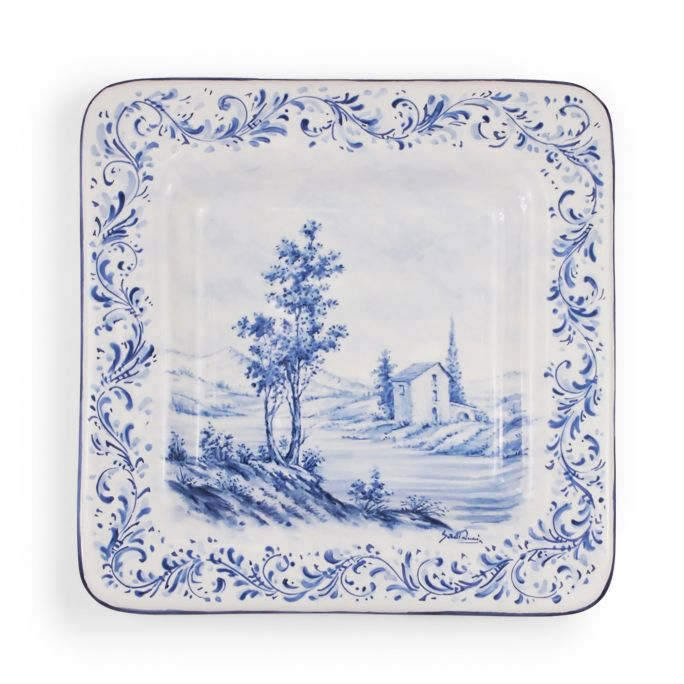 Square plate with landscape