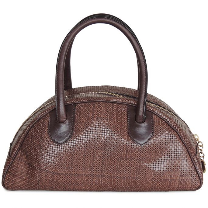 Half-moon bag small LUCIANA braided leather