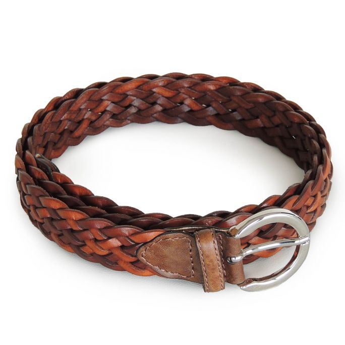 Braided leather woman's belt
