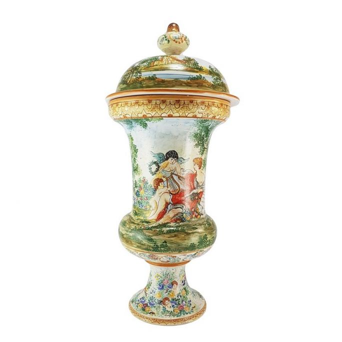 Large Albarello vase (with lid)