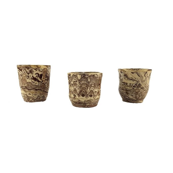 Tris Marbled stoneware glasses