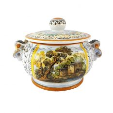 Small soup tureen dec. landscape