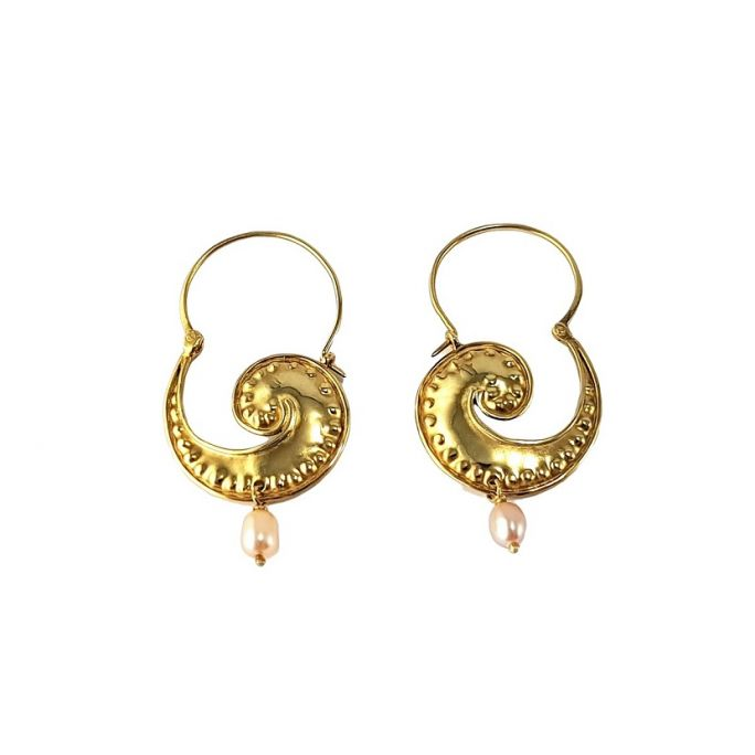 Spiral earrings with pearl