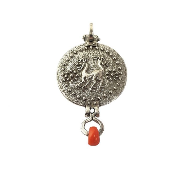Chimera pendant (silver and coral)
