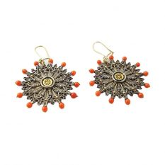 Rose window earrings (natural corals)
