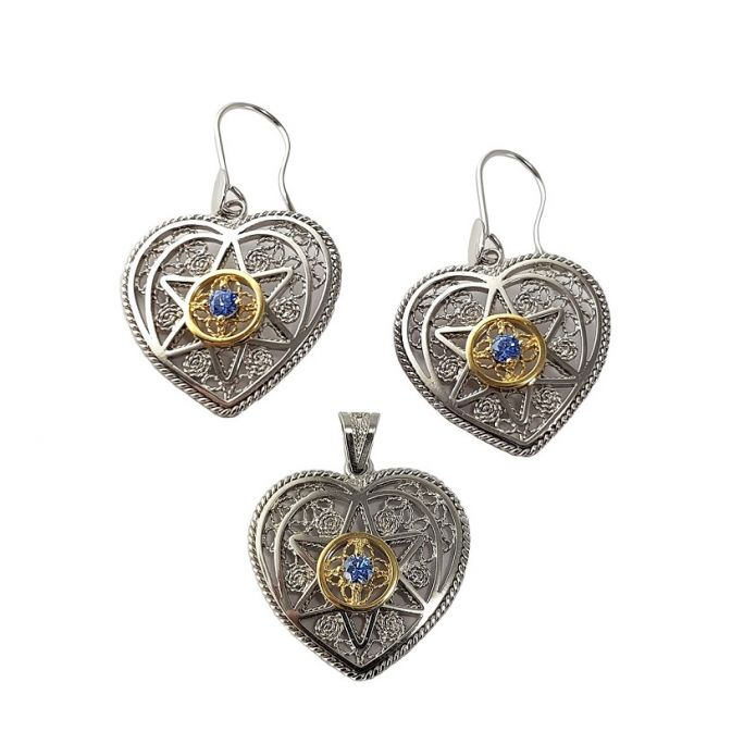 Heart pendant + earrings