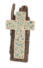 Cross in white refractory clay with crystals and wood